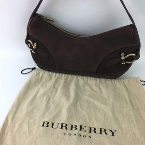 Burberry London Brown Suede Shoulder Purse